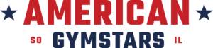 American Gymstars wordmark Logo red and blue with stars PNG
